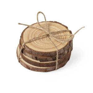 Base para copos troncos de madeira personalizáveis