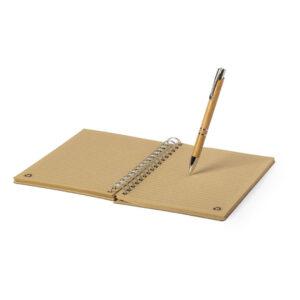 Bloco de notas A5 pautado de bambu e papel reciclado com caneta