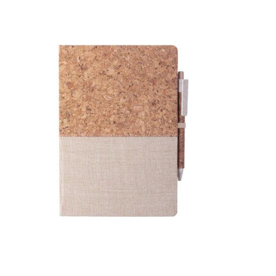 Bloco de notas A5 liso de cortiça e algodão com caneta
