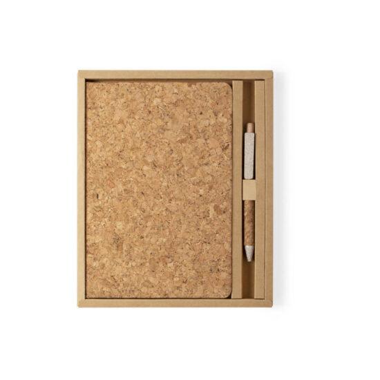 Bloco de notas A5 liso de cortiça com caneta