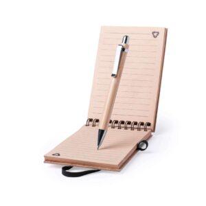 Conjunto de caneta e bloco de notas A6 de bambu