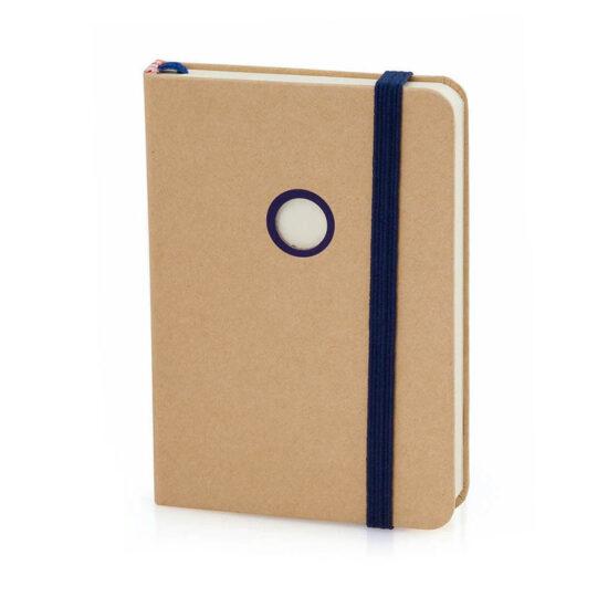 Bloco de notas A7 liso azul de cartão reciclado