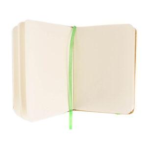 Bloco de notas A7 liso verde de cartão reciclado