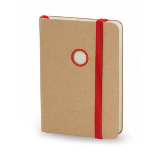 Bloco de notas A7 liso vermelho de cartão reciclado