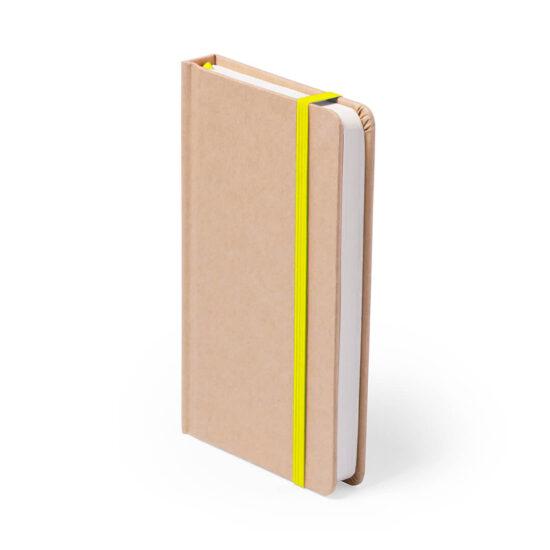 Bloco de notas amarelo A5 liso de cartão reciclado