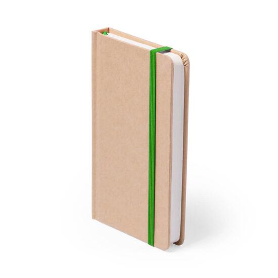 Bloco de notas verde A5 liso de cartão reciclado