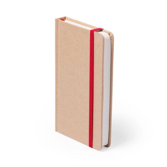 Bloco de notas vermelho A5 liso de cartão reciclado