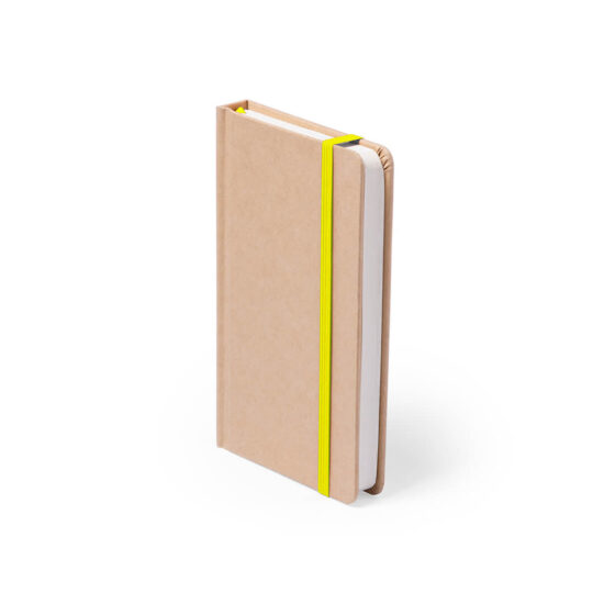 Bloco de notas amarelo A6 liso de cartão reciclado