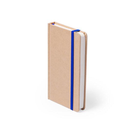 Bloco de notas azul A6 liso de cartão reciclado