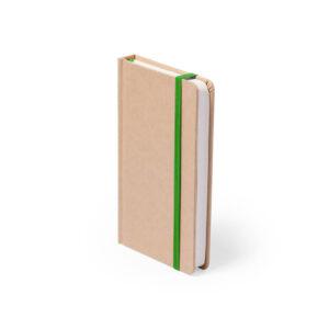 Bloco de notas verde A6 liso de cartão reciclado