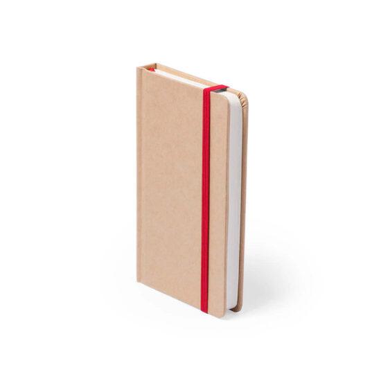 Bloco de notas vermelho A6 liso de cartão reciclado
