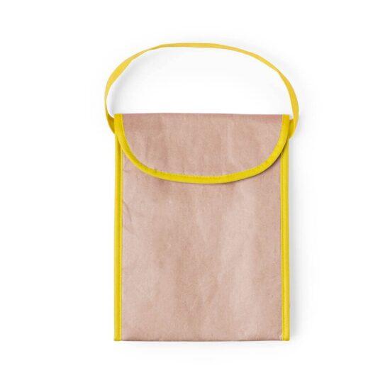 Lancheira térmica ecológica de papel amarela