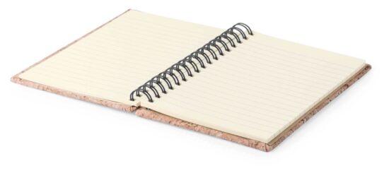 Caderno pautado A6 de cortiça com argolas