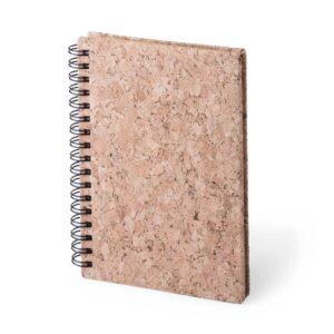 Caderno A6 de cortiça com argolas