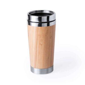 Copo reutilizável de bambu e aço inoxidável