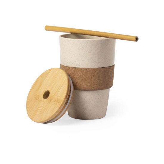Copo reutilizável de fibra de bambu e cortiça com palhinha
