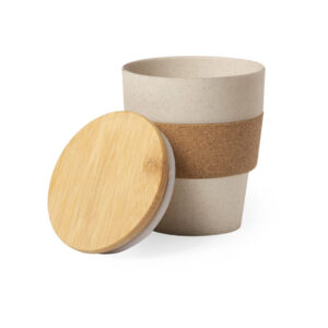 Copo reutilizável de fibra de bambu e cortiça