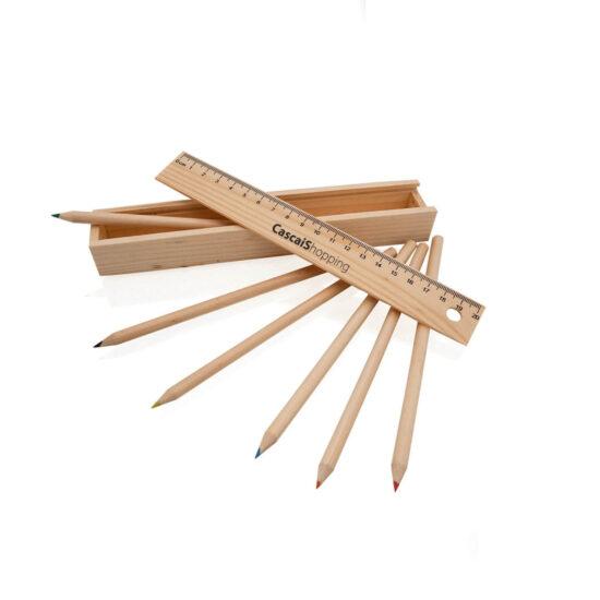 Estojo de madeira com lápis de cor e régua personalizável