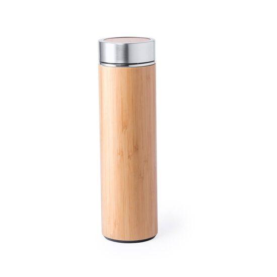 Garrafa reutilizável de bambu e aço inoxidável