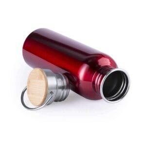 Garrafa reutilizável retro vermelha de aço inoxidável e bambu