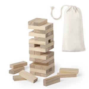 Jogo jenga de madeira com bolsa de algodão