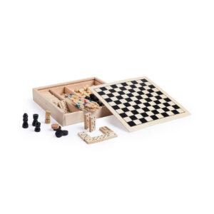 Conjunto de jogos de tabuleiro de madeira