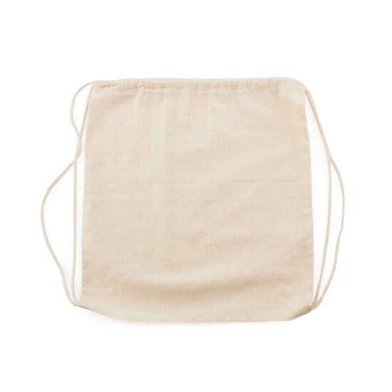 Mochila de algodão orgânico com atilhos