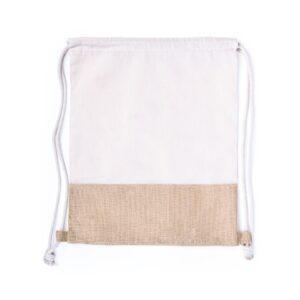 Mochila de algodão e juta com atilhos