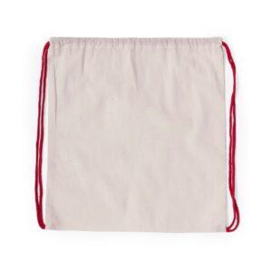 Mochila de algodão com atilhos vermelha