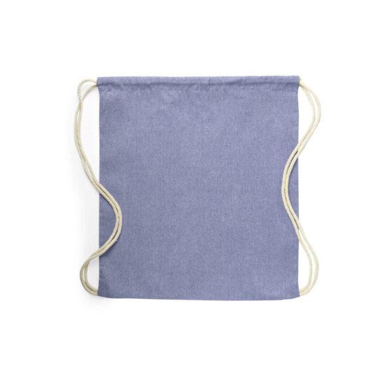Mochila azul com atilhos de algodão reciclado