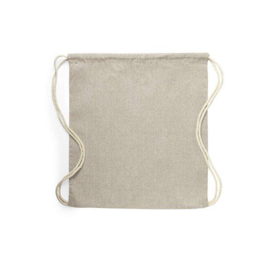 mochila bege de algodão reciclado