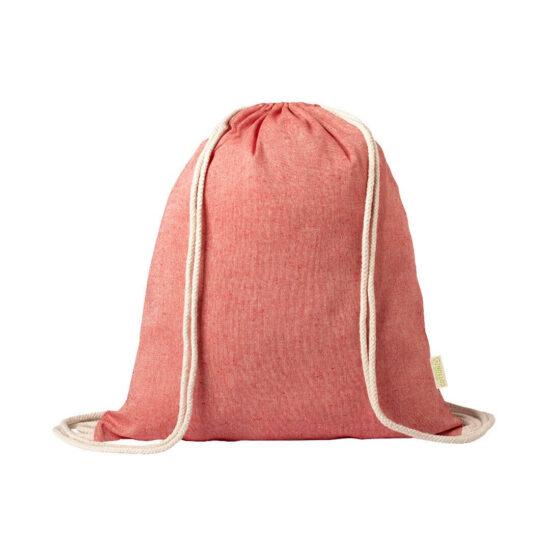 Mochila vermelha com atilhos de algodão reciclado