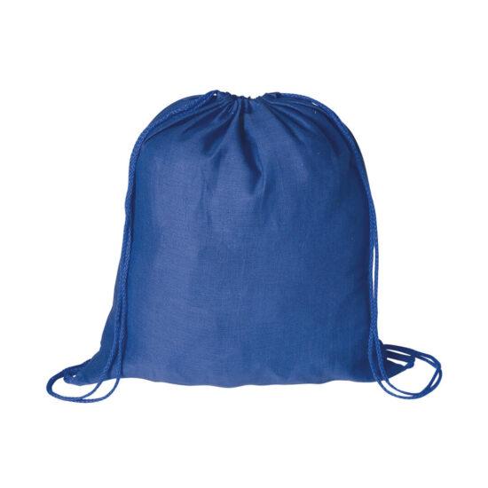 Mochila azul com atilhos de algodão
