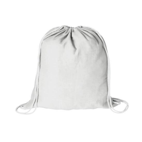 Mochila branca com atilhos de algodão