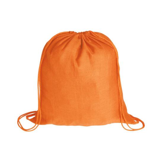 Mochila laranja com atilhos de algodão