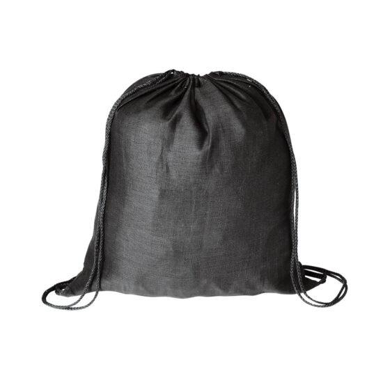 Mochila preta com atilhos de algodão