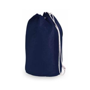 Mochila de desporto azul com atilhos de algodão