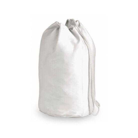 Mochila de desporto branca com atilhos de algodão