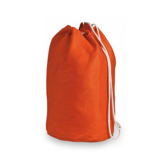 Mochila de desporto laranja com atilhos de algodão