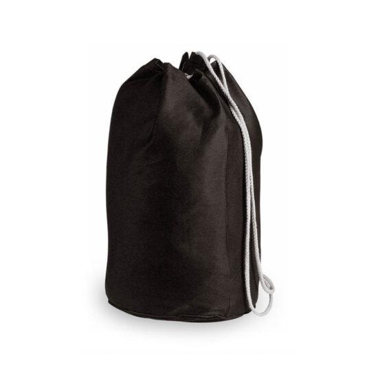 Mochila de desporto preta com atilhos de algodão