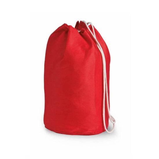 Mochila de desporto vermelha com atilhos de algodão