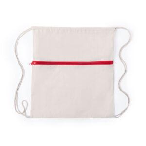 Mochila vermelha de algodão com atilhos