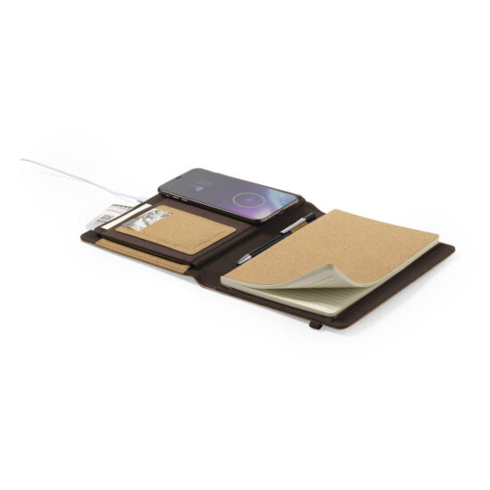 Pasta de cortiça com bloco de notas e carregador wireless