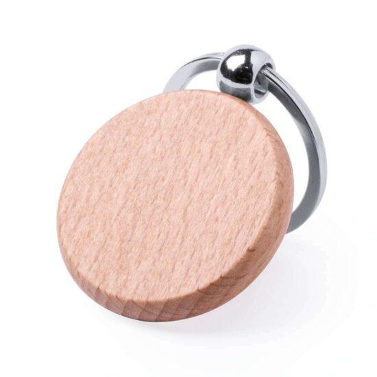 Porta-chaves de madeira circular