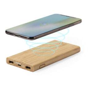 Power bank wireless de bambu