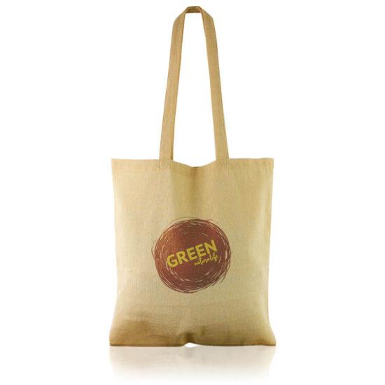 Saco amarelo reutilizável de algodão reciclado