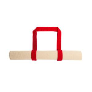 Saco reutilizável e dobrável de algodão com alça vermelha