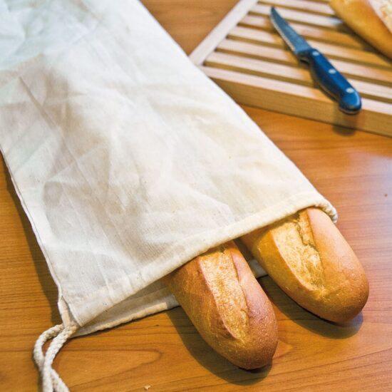 Saco para pão de algodão com atilhos