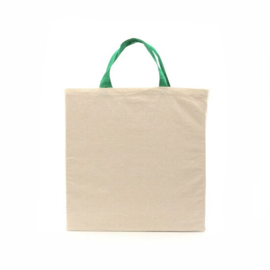 Saco reutilizável de algodão orgânico com alças verdes
