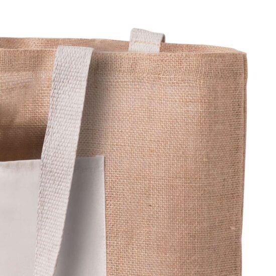 Saco de praia ecológico de juta e algodão com bolso
